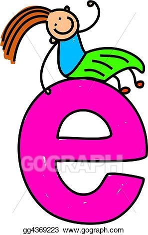 clipart royalty free E clipart. Stock illustration letter girl