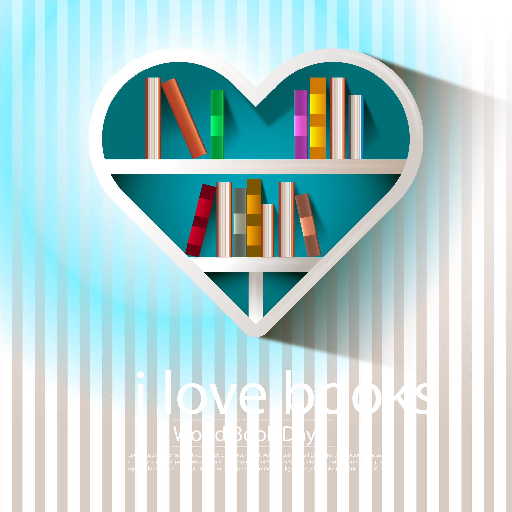 image library stock Bookshelf vector background. Computer file striped heart