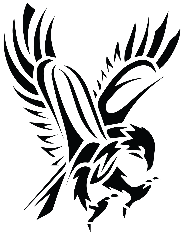 clipart black and white Black Tribal Flying Hawk Tattoo Stencil