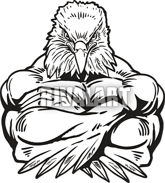 image black and white download Eagles clipart mascot. Strong eagle
