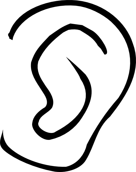 clipart transparent library Ear . Nose clipart black and white