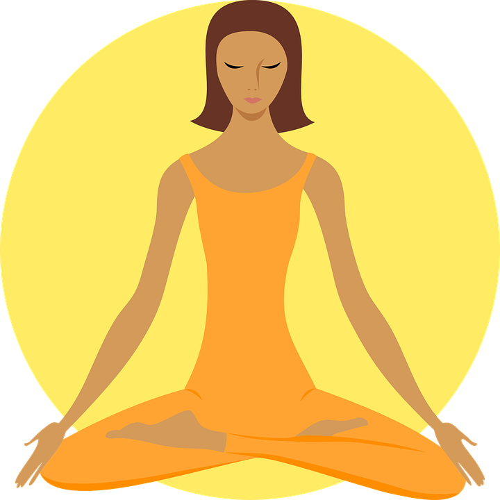 svg free library Practicing Yoga early morning on cloth mats