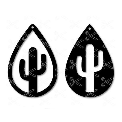 jpg transparent Earring svg. Cactus teardrop dxf