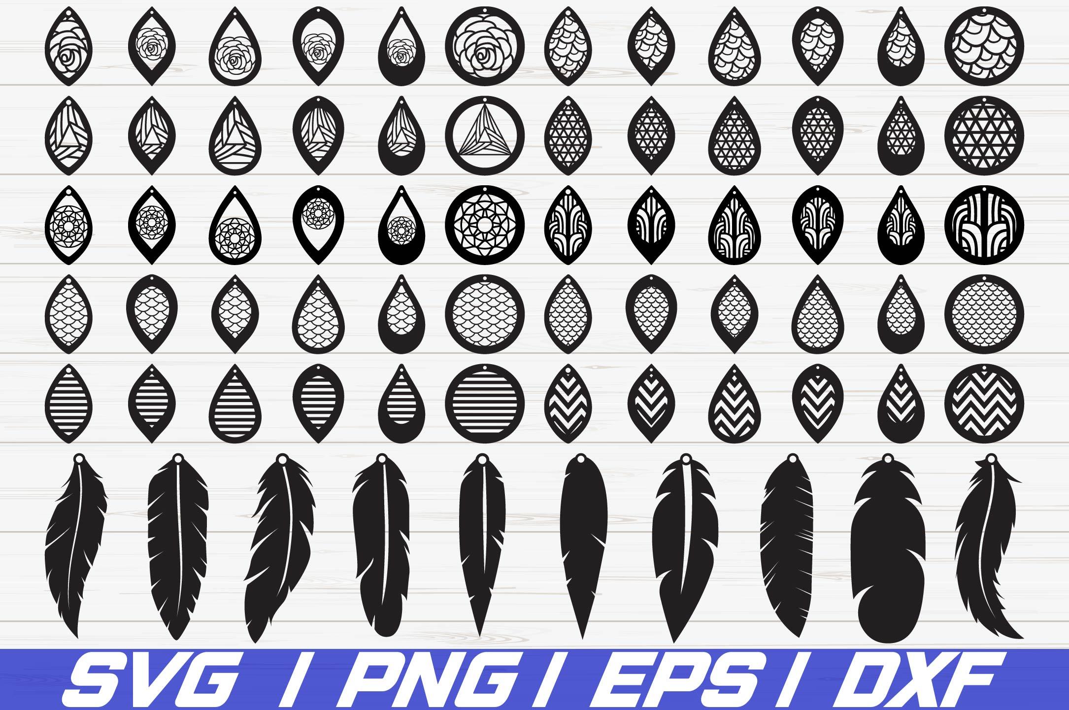 banner Earring svg. Earrings bundle leather teardrop