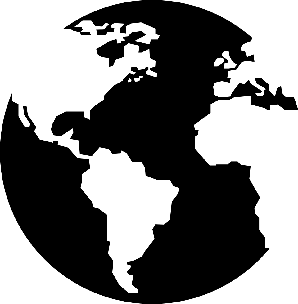 clipart transparent download Earth globe with continents. World svg silhouette