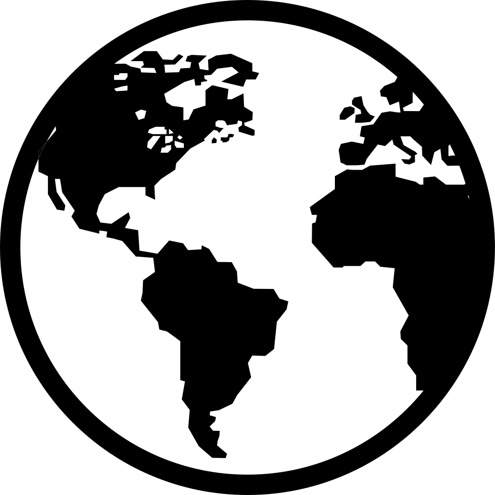 black and white Earth Svg Png Icon Free Download