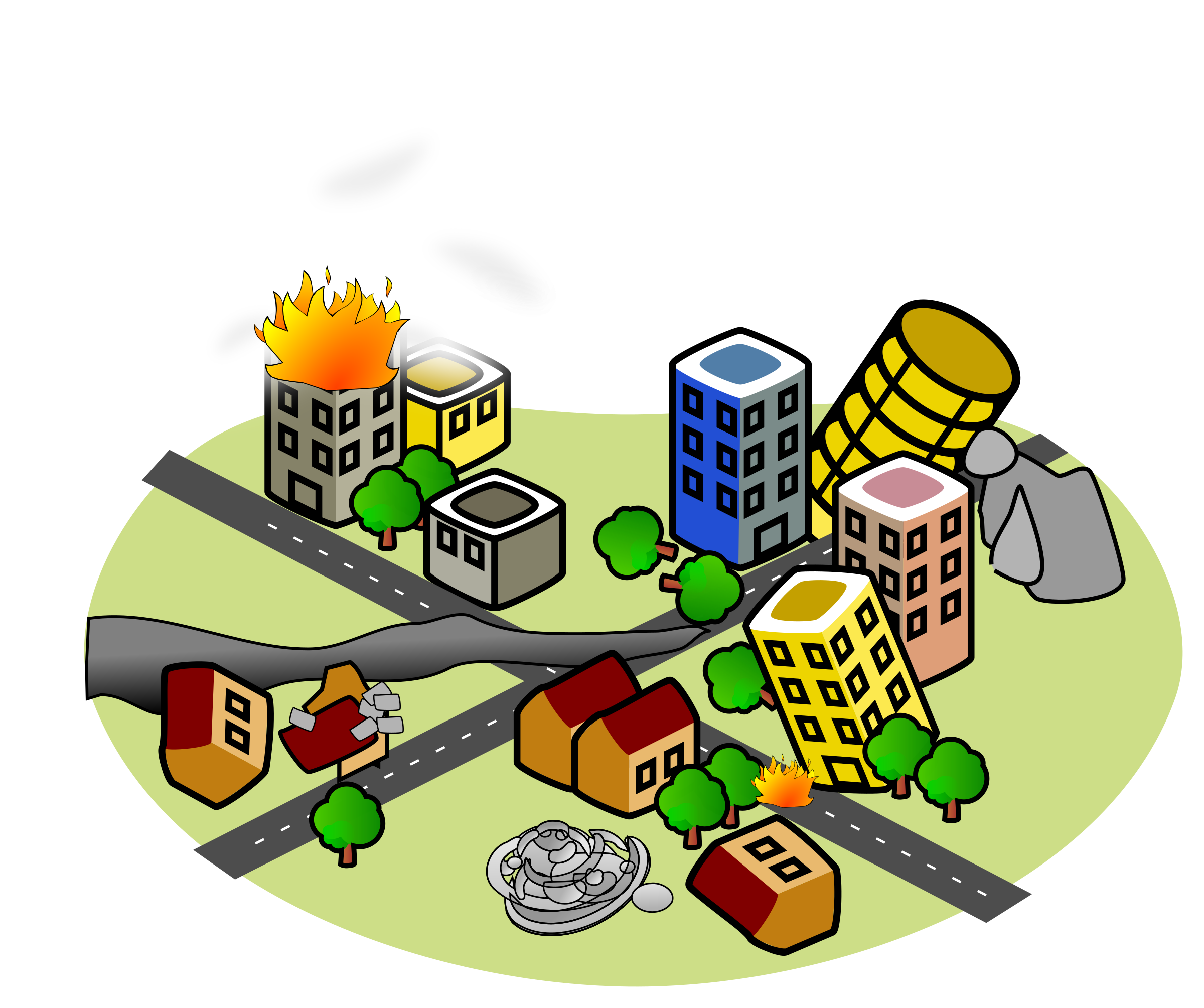 clip art free library City after big image. Earthquake clipart.