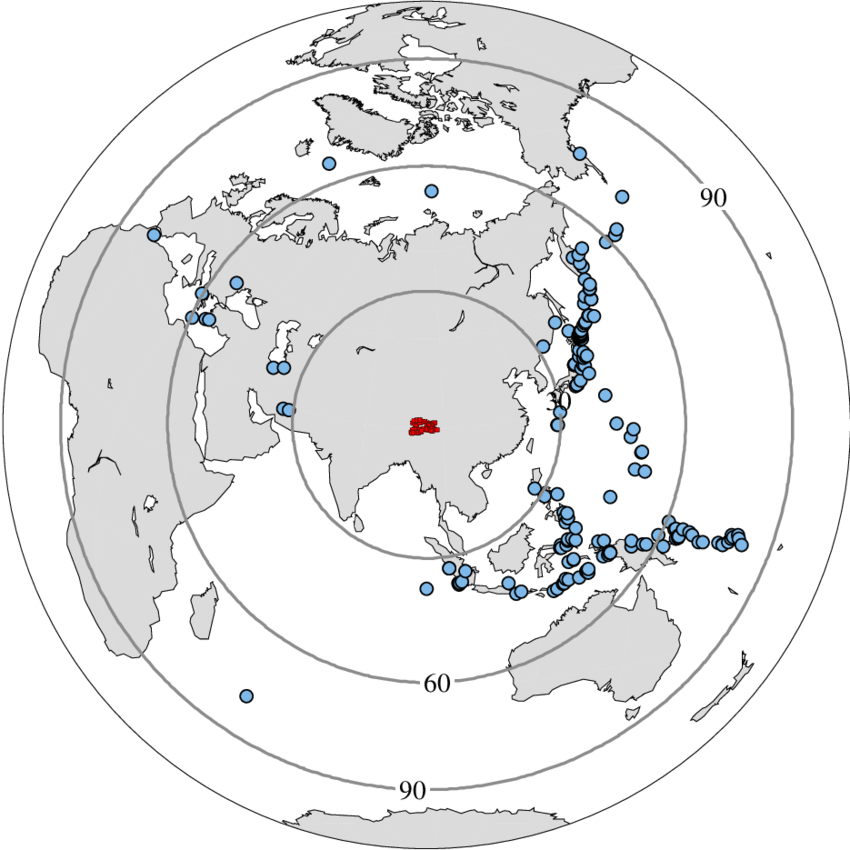 picture transparent Epicentral distribution of the earthquake events used in the study