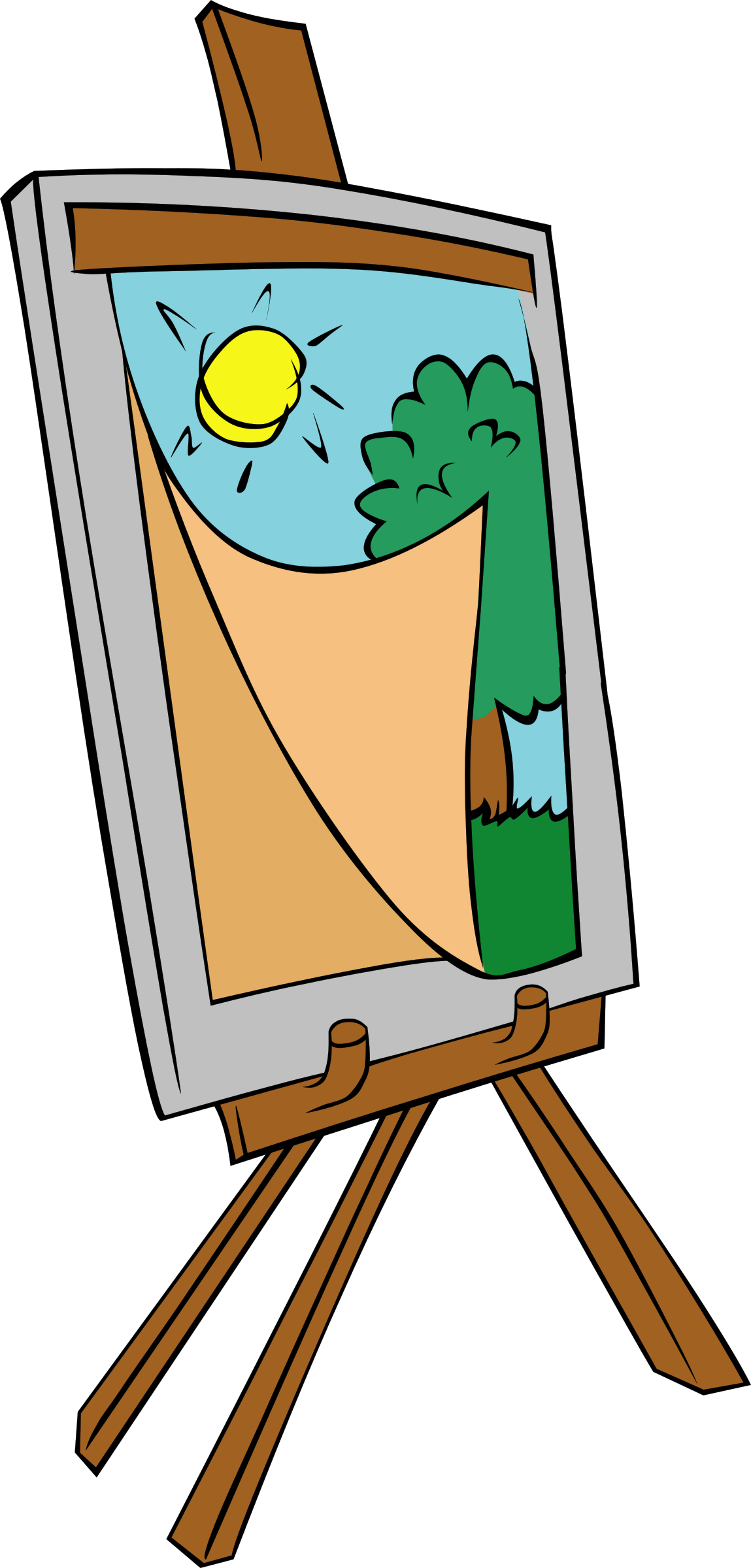 clip art royalty free Art easel clipart. With kids painting big