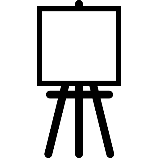 image library library Painter easel with square. Transparent canvas background