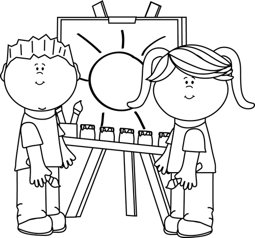clip free download Kids painting on easel. Kindergarten clipart black and white