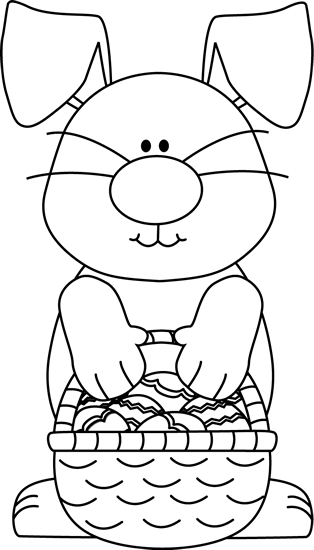 vector freeuse download Black and White Bunny with an Easter Basket