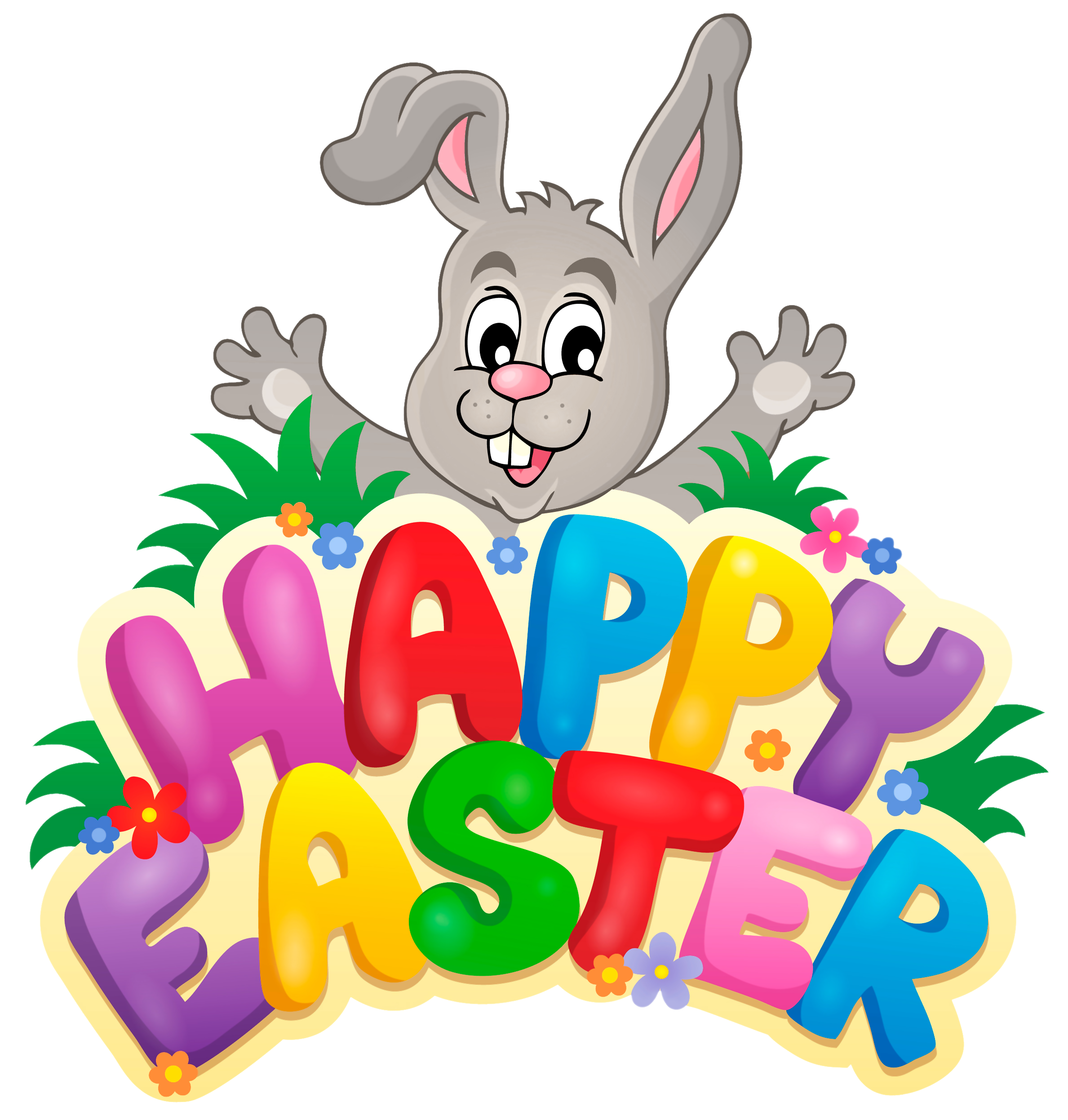 clip art Transparent happy with bunny. Easter clipart.