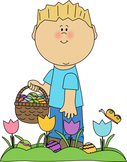 banner Kids painting clipart. Boy looking for easter