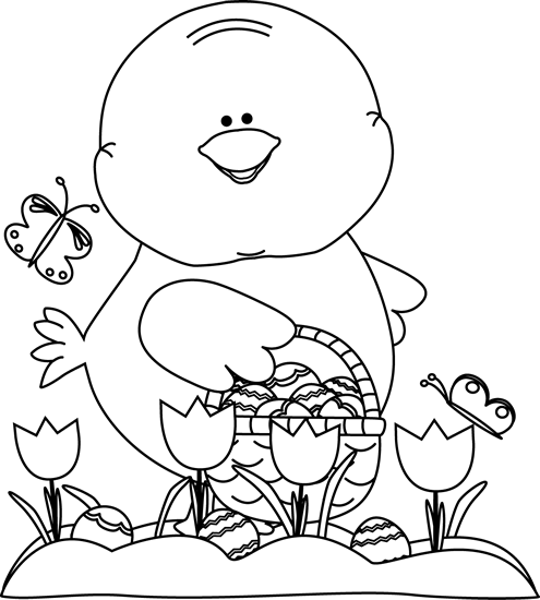 banner freeuse download Black and White Chick on an Easter Egg Hunt Clip Art