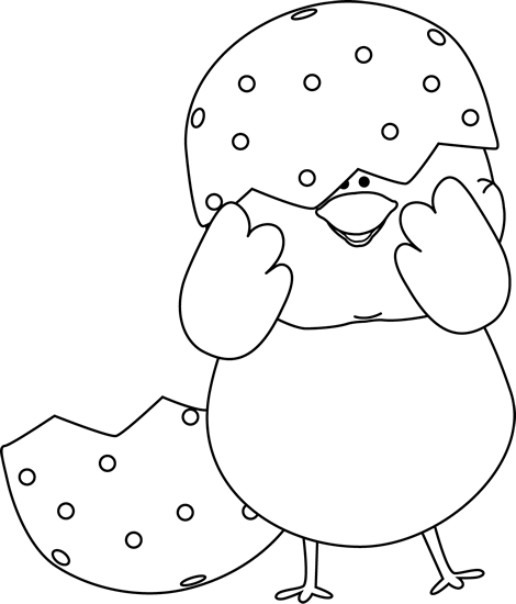graphic royalty free Shell clipart black and white. Easter chick clip art