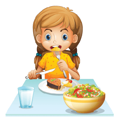 jpg library Young girl the arts. Eating clipart.