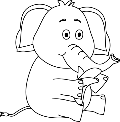 black and white stock Black and White Elephant Eating a Banana Clip Art