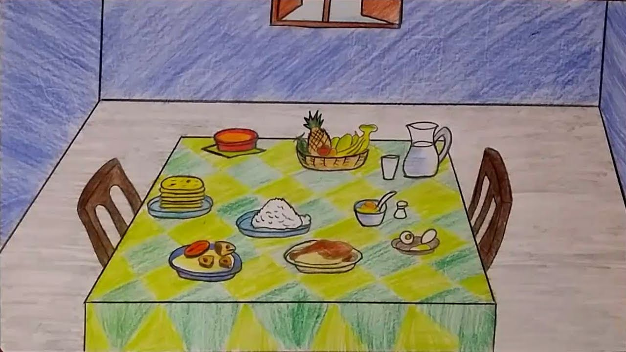 svg library stock How to draw a scenery of Dining Table step by step