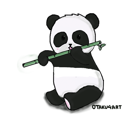 clipart black and white download Bamboo transparent chibi. Panda eating a by