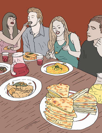 clip freeuse Eating drawing restaurant. Stock illustration group of