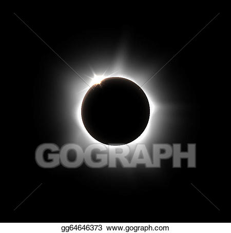 black and white stock Eclipse clipart. Vector art solar drawing.