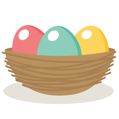 vector black and white Easter egg nest SVG file and clipart