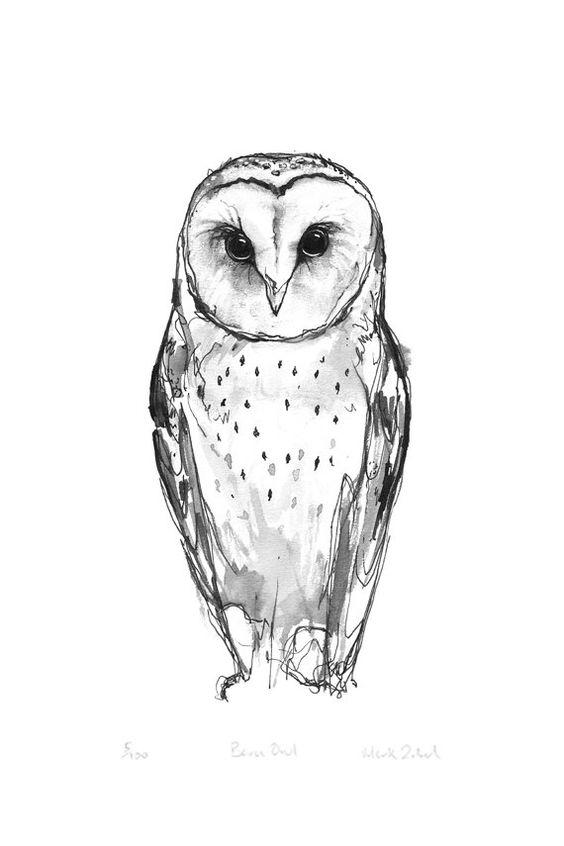 clip art royalty free library Drawing owls tattoo. Barn owl idea transprent