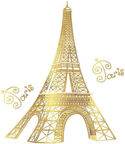 png library download Paris tour invitation envelope. Eiffel clipart golden