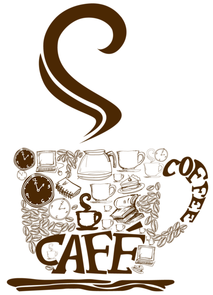 royalty free stock Decorative cup png clipart. Vector coffee cold