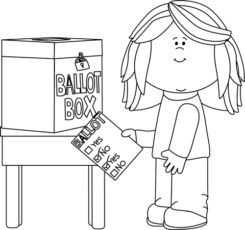 transparent stock Vote black and white. Yes clipart ballot