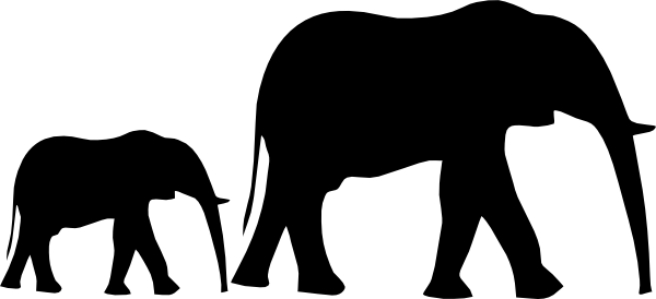 jpg freeuse stock Mom And Baby Elephant Silhouette at GetDrawings