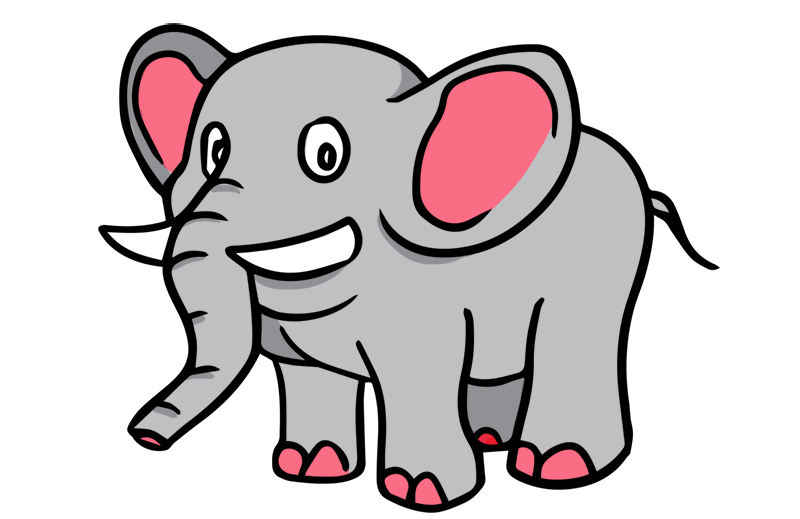 svg freeuse download Cute Elephant Clipart