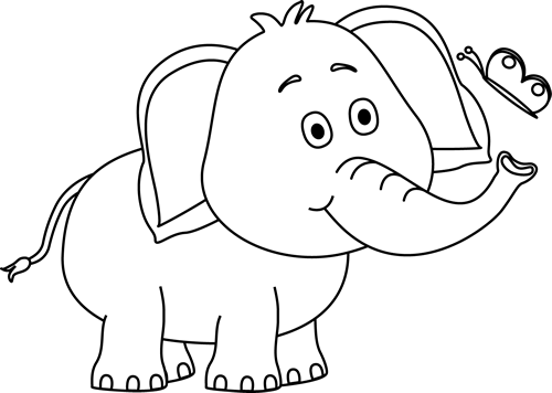 jpg black and white download Elephants clipart black and white. Elephant butterfly clip art