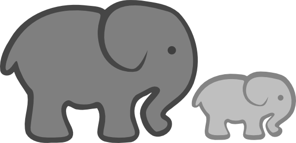graphic transparent stock Mom And Baby Elephant Clipart