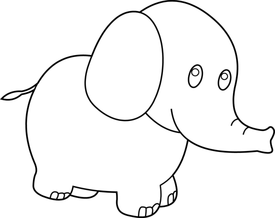 library Cute Elephant Clipart Black And White