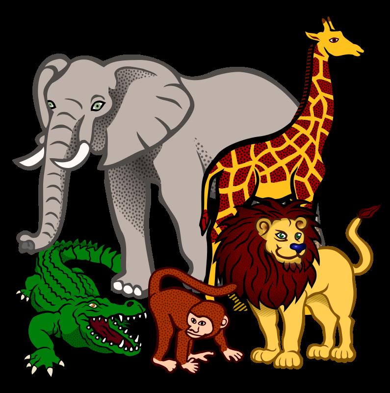 svg download Wild animal clipart. African animals coloured medium