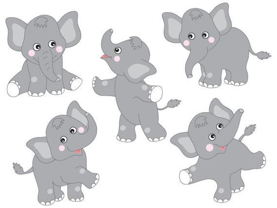 free stock Digital vector safari elephant. Elephants clipart.