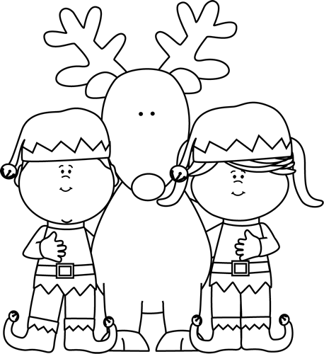 vector transparent Elves with a reindeer. Elf clipart black and white