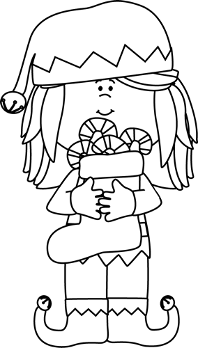 vector freeuse library Elf clipart black and white. Girl christmas clip art