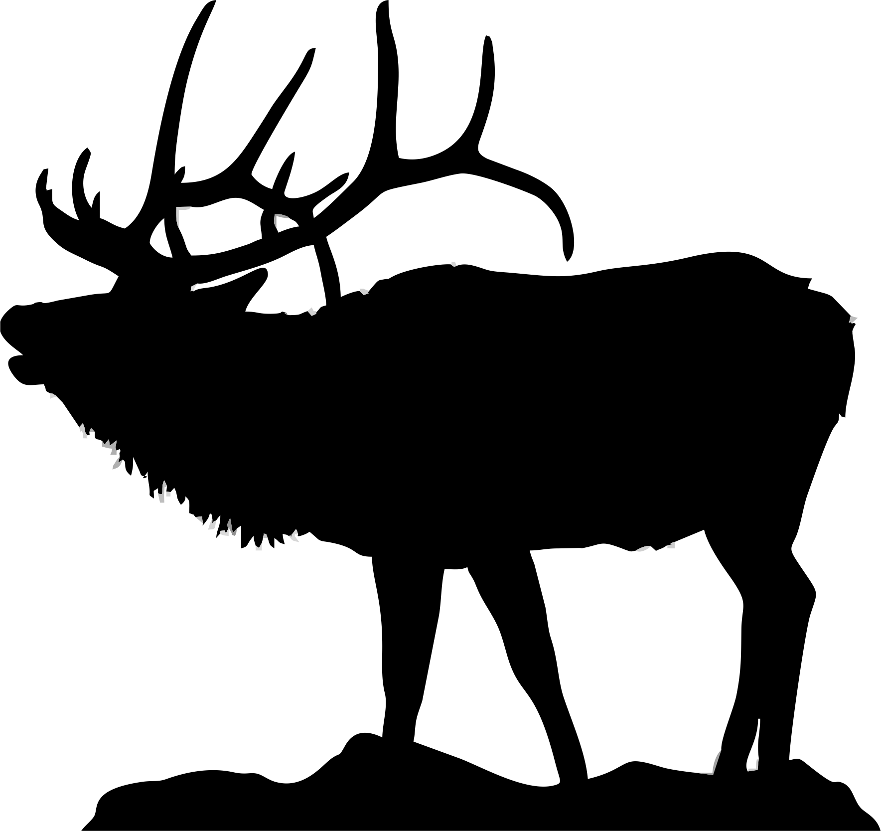 vector freeuse stock Elk Clipart elk head