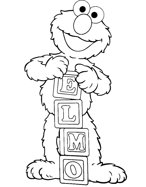 picture transparent library Elmo Is Showing Off His Name Coloring Page
