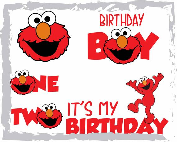 jpg black and white Elmo birthday svg
