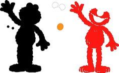 svg black and white library Elmo Standing
