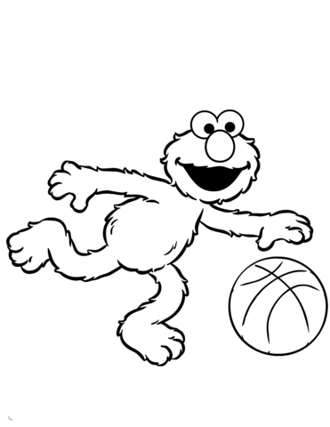 svg stock Elmo Plays Basketball coloring page