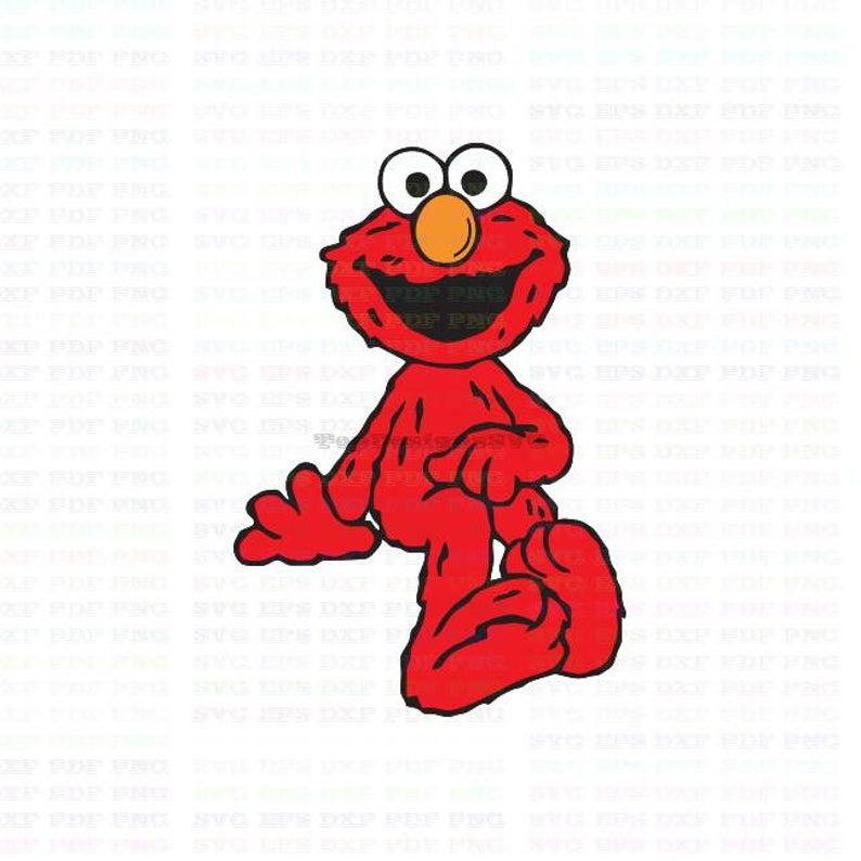 black and white stock Elmo Smiley Sesame Street Svg Dxf Eps Pdf Png