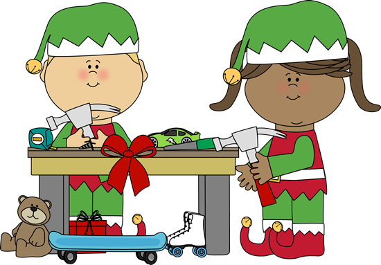 black and white download Elves Making Toys Clip Art