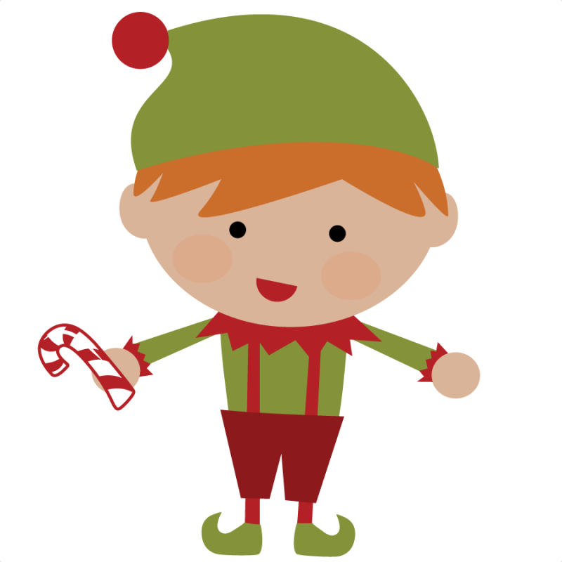 graphic black and white Cute Christmas Elves Clipart
