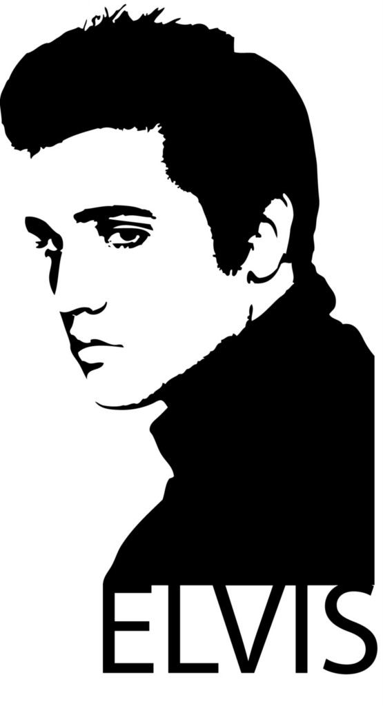 clip Black and white art. Elvis clipart.