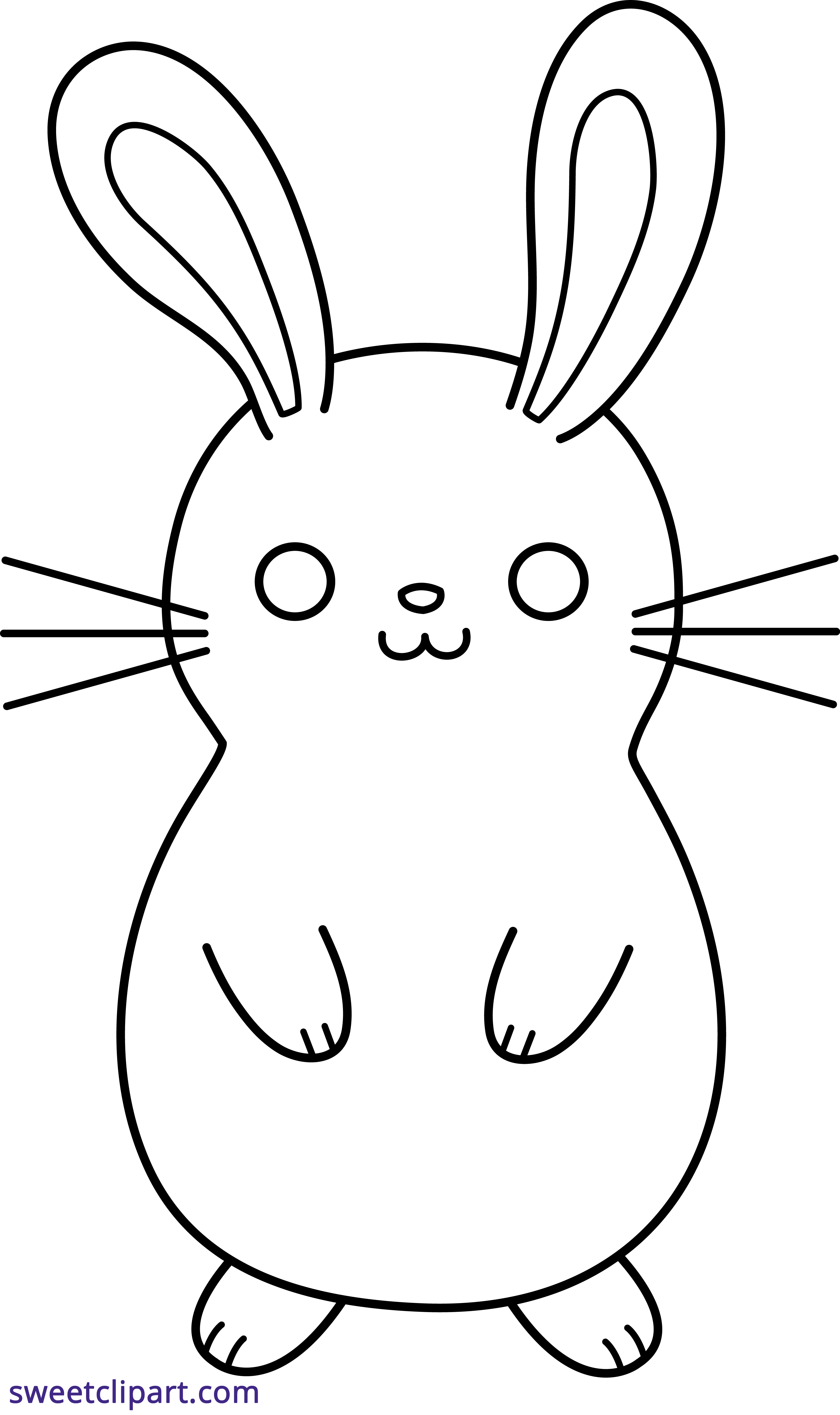 stock Bunny Rabbit Cute Lineart Black White Clipart